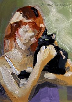 Original very loose oil painting of a redhead lady and her black cat.  5 x 7 inches by Diane Irvine Armitage.