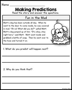 Reading Comprehension Passages - predicting skills for first grade!