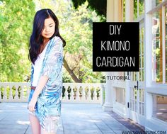 DIY Kimono Cardigan- A super easy project for summer! Instructions on creating the perfect pattern to fit you and step-by-step photos on sewing your kimono together.