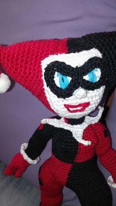 Amigurumi Harley Quinn , Chofusgurumi tejida a gancho, hecha a mano, hecha en México, Tonanitla.