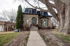 Here's your opportunity to own a wonderful piece of Monroe history! This beautiful French Second Empire Style home is listed on the National Register of… Black Building, Mansard Roof, Little Cottages, Second Empire, Empire Style, Old Barns, Old House Dreams, Real Estate Houses, Romanesque