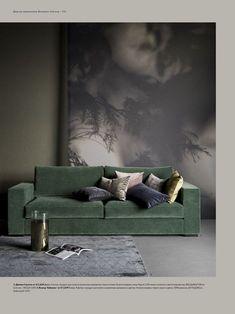 56 ideas apartment living room sofa color schemes for 2019 Living Room Decor Colors, Home Decor Colors, Living Room Color Schemes, Colorful Decor, Colorful Interiors, Living Room Designs, Green Velvet Sofa, Green Sofa, Color Schemes Colour Palettes