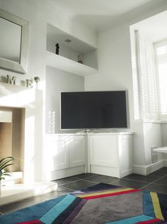 - TV Unit Models & Ideas - Shaker Alcove Cabinets With Floating Shelves - U Furniture Ltd Shaker Alcove Cabinet with a TV and a floating shelf above. Alcove Cabinets, Living Room Cabinets, Living Room Shelves, Living Room With Fireplace, Living Room Grey, Home Living Room, Tv Living Rooms, Corner Tv Cabinets, Alcove Tv Unit