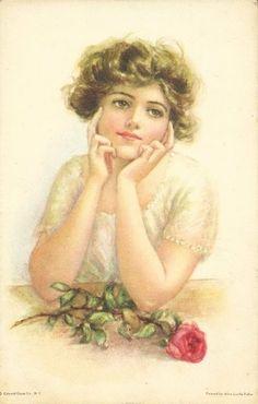 Vintage Lady Postcard, ca. Decoupage Vintage, Éphémères Vintage, Vintage Ephemera, Vintage Girls, Vintage Beauty, Vintage Children, Vintage Postcards, Vintage Prints, Image Halloween