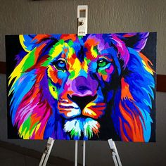 "111 kedvelés, 16 hozzászólás – Arianit Preniqi (@niteyy_art) Instagram-hozzászólása: ""Finally posting it!•Colorful Abstract Lion painting.🖌👌Finished it with acrylics on a 50x70cm primed…"""