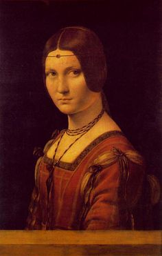 La belle ferronnière is a name given to a portrait of a woman in the Musée du Louvre, usually attributed to Leonardo da Vinci. It is also simply known as Portrait of an Unknown Woman 1490-1496