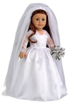 Princess Kate - Clothes for 18 inch American Girl Doll - Royal Wedding Dress, Veil, Bouquet, Shoes – Dreamworld Collections