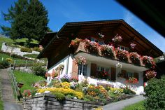 The traditional swiss chalet - The HUGE flower boxes are EXACTLY what our old house needs :) and the white wash on the bottom floor! If the foundation was sound, we could maybe add stone around it and then white wash it? I'm just dreaming here :)