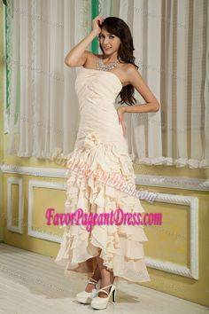 Champagne Ankle-length Chiffon Interview Pageant Suits with Ruffles