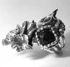 Grote Zilveren Ring met facet geslepen vierkante onyx