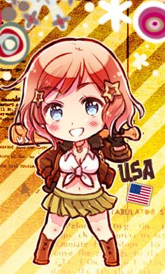 "Chibi Nyotalia America, Hetalia. This reminds me of the episode in Beautiful World ""I'M THE HEROINE! Don't do drugs kids."""