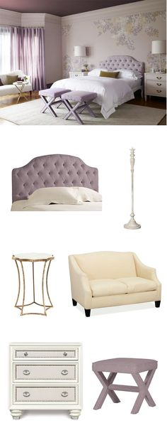 We are in love with the lilac and white pairing in this room as a girly, yet sophisticated color scheme.