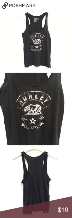 Black Hurley Racerback Tank Top Classic black Hurley tank top with a racer back. Slightly faded graphics. Hurley Tops Tank Tops