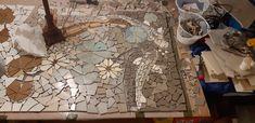 Mosaic Fish in bathroom floor in progress Bathroom Flooring, Mosaic, Fish, Rugs, Painting, Home Decor, Art, Farmhouse Rugs, Art Background