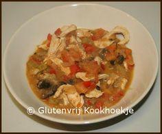 Creoolse kippenvlees met champignons