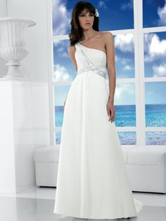Chiffon One Shoulder Slim A Line Skirt Custom Made Cheap 2011 Beach Wedding Dress WH 0074