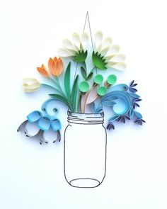 Whimsical Quilled Illustrations by Meloney Celliers - Vase | Click for full post! #paper #illustration #art