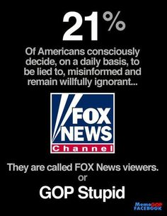I CHALLENGE YOU TO JOIN THE OTHER 79% OF AMERICANS AND TURN YOUR CHANNEL FOR 1 WEEK TO GET THE FACTS!  ANY NEWS CHANNEL OF YOUR CHOICE FOR 1 WEEK.....Get News Facts, Not Extreme Opinions and Distortions.