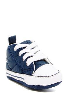 Chuck Taylor First Star Hi Navy Sneaker (Baby)