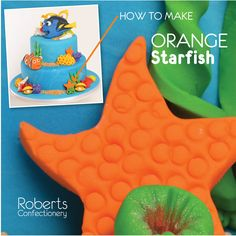 FInding Dory Cake: How to make Orange Starfish - Cut stars of orange fondant. Press the small end of the piping nozzle all over the starfish. Place onto baking paper and leave to dry. Full recipe on Roberts Confectionery website: http://www.robertsconfectionery.com.au/pages/recipe-sheets