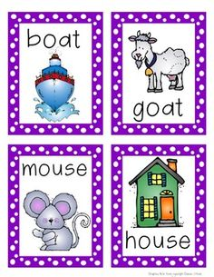 Rhyming Picture Cards with Printables. Has other types of flashcards. Great for teaching kids.