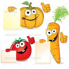 Funny Vegetables  #GraphicRiver         Cute Cartoon Vegetables with Empty Sign