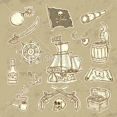 Pirates set Royalty Free Stock Vector Art Illustration