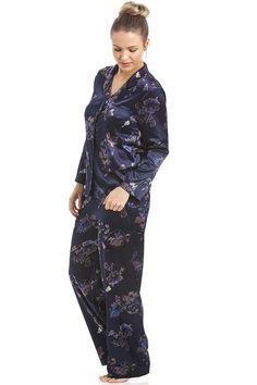 Floral Print Navy Full Length Satin Pyjama Set