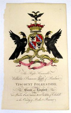 Coat of arms of William Bouverie (1725–1776), 1st Earl of Radnor (GB 1765), Joseph Edmondson's Baronagium Genealogium, London, 1764-1784.