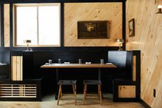 Brooklyn-based Studio Tack overhauled a modernist guesthouse in upstate New York into a boutique hotel with snug interiors and impressive mountain views. Hotel Restaurant, Restaurant Design, Design Hotel, Bar Interior, Interior Design, Interior Architecture, New York Studio, Hygge Home, Upstate New York