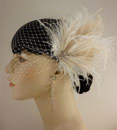 Bridal Feather Fascinator, Bridal Fascinator, Bridal Headpiece, Bridal Hair Accessories, Bridal Veil. $67.00, via Etsy.