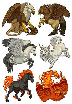 Draw Creatures Fabled Set - 1 by *Shadow-Wolf on deviantART Gryphon, Hippogryph, Pegasus, Unicorn, Nightmare and Phoenix - Mythical Creatures Art, Mythological Creatures, Magical Creatures, Mystical Creatures Drawings, Creature Drawings, Animal Drawings, Art Drawings, Wolf Drawings, Fantasy Beasts