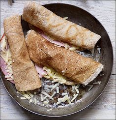 Staffordshire Oatcakes with Ham and Gruyere