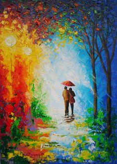 Original Painting  Couple With Umbrella  by GargoviArtGallery, $190.00