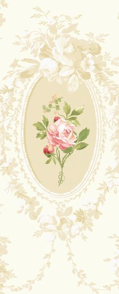 grisaille wallpaper w/ colored rose.