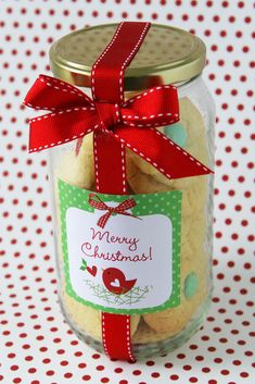 Homemade cookies in a mason jar...making these as favors for our holiday party