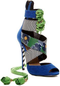 Alejandra G Santiago Mix Print Stiletto Heels Blue