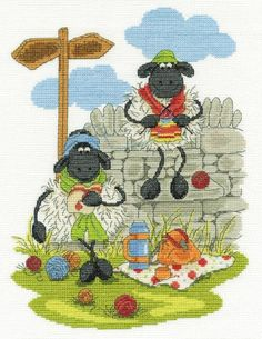 Shabby Sheep Lunching & Knitting Cross Stitch Kit - £22.50 on Past Impressions | by DMC