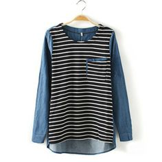Slim Fit Long Sleeve Loose T Shirt Cowboys Fight At The End Of Stripe|OBUZU
