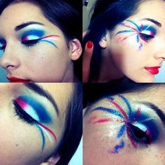 Blue Makeup Looks, Cool Makeup Looks, Holiday Makeup Looks, Looks Cool, Pretty Makeup, 4th Of July Parade, Fourth Of July, Skin Makeup, Beauty Makeup