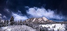 Enchanted Mesa (pcully) Tags: lighting nightphotography trees cloud snow rock night stars landscape colorado mood boulder flatirons chautauqua