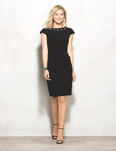 dressbarn Grommet Neckline Sheath Dress #lbd
