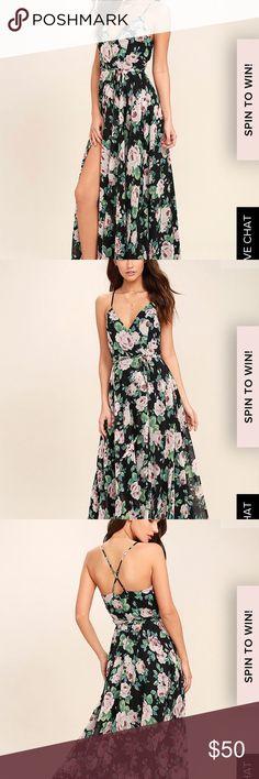Lulu's brand new floral wrap dress! 🌸🌺 Cute maxi floral wrap dress with tags! Spaghetti straps with cross back. Lulus size medium Lulu's Dresses Maxi