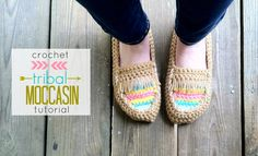 Just B Crafty: Crochet Tribal Moccasin Tutorial