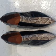 CELINE    Reptile print/skin motif on these elfin pointed black shoes makes room to strut your stuff with confidence!