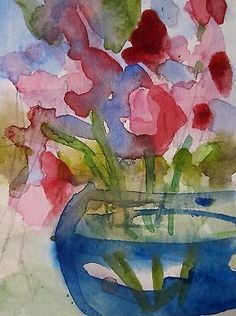 Mini watercolor still life floral painting.