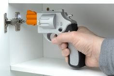The Drill Gun Power Screwdriver is an amazing power tool which is shaped like a revolver! Just put the size screw that you need in the barrel of the gun, aim, and shoot! The remaining drill bits can rest in the chambers until you need them!