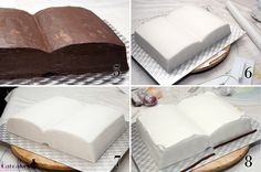 Cake tutorial with book shape Bolo Harry Potter, Gateau Harry Potter, Fondant Cakes, Cupcake Cakes, Open Book Cakes, Library Cake, Cake Paris, Bible Cake, Christening Cake Boy