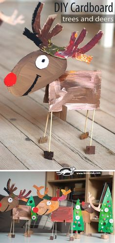 Cardboard Christmas craft :: reindeer craft kids can make :: recycled christmas tree craft