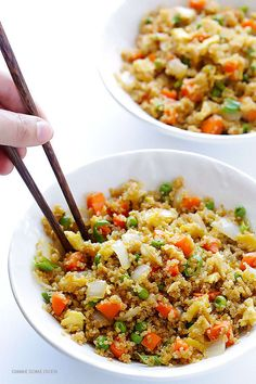 A cup of cooked quinoa has 5.2 g of fiber, which makes it a great substitute for regular rice. Get the recipe for this quinoa fried 'rice' here.